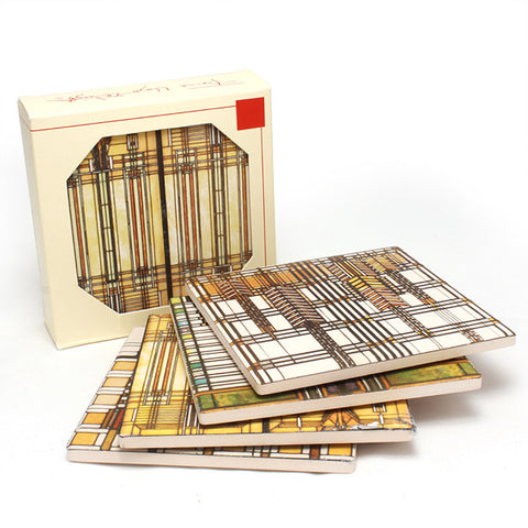 Frank Lloyd Wright Glass Designs Sandstone Coasters Gift Set 2