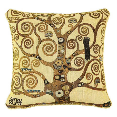 Signare Gustav Klimt Tree of Life Tapestry Pillow, Front view