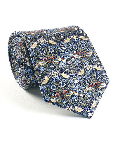 William Morris Strawberry Thief Blue Silk Tie