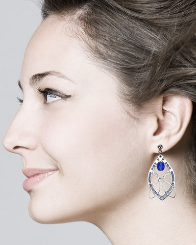 Sullivan Stock Exchange Earrings with Sapphire Blue Bead - Model
