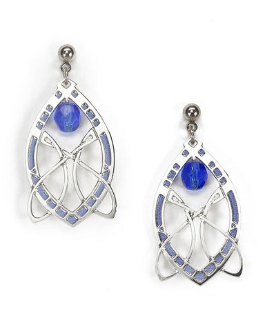 Sullivan Stock Exchange Earrings with Sapphire Blue Bead