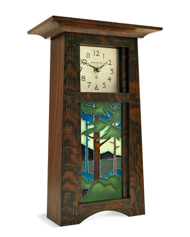 Arts and Crafts Motawi Pine Landscape Tile Mantel Clock