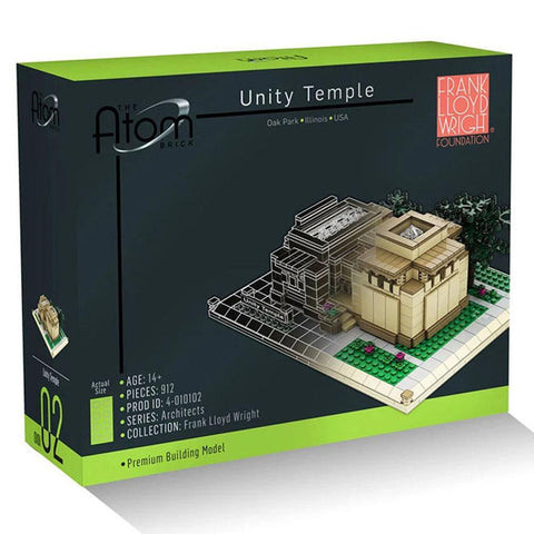 Frank Lloyd Wright Unity Temple Architecture Building Brick Set Box Front