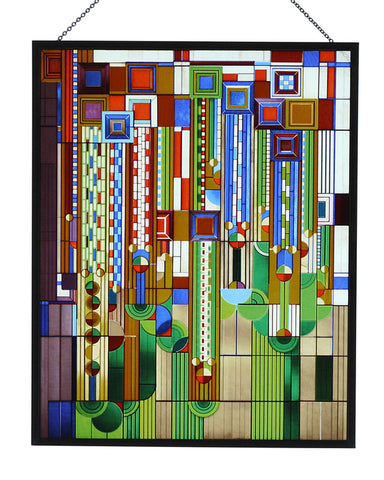 FLW Saguaro Stained Glass Metal Framed