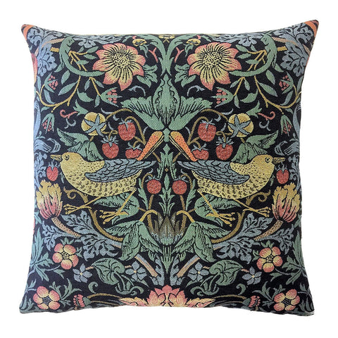 William Morris Strawberry Thief Tapestry Pillow - Birds Facing Out