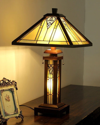 Arts & Crafts Zella Stained Glass Table Lamp Display