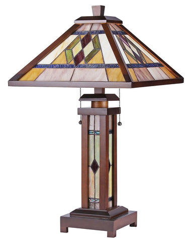 Arts & Crafts Gareth Stained Glass Table Lamp 2