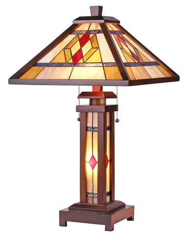 Arts & Crafts Gareth Stained Glass Table Lamp