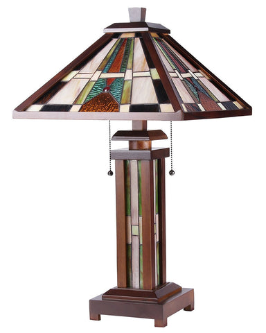 Arts & Crafts Percival Stained Glass Table Lamp 2