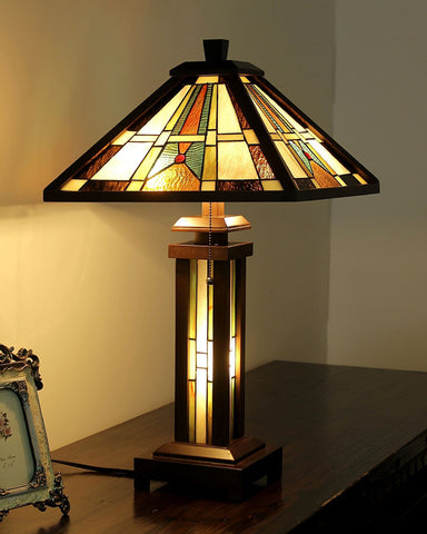 Arts & Crafts Percival Stained Glass Table Lamp display