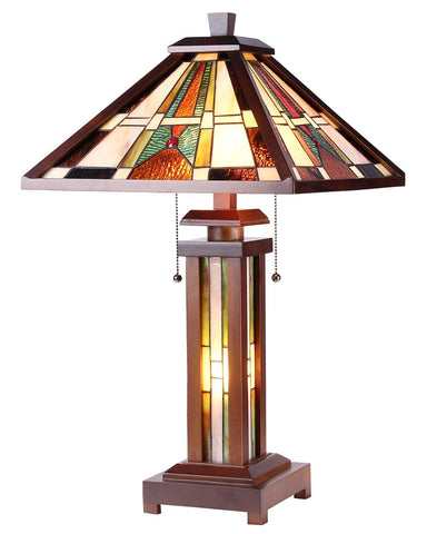 Arts & Crafts Percival Stained Glass Table Lamp