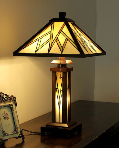 Arts & Crafts Lamorak Stained Glass Table Lamp display