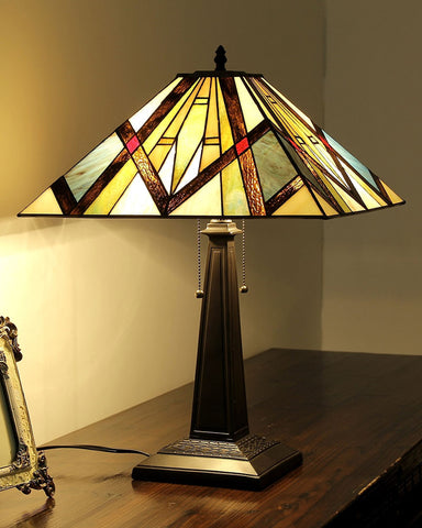 Arts & Crafts Bedivere Stained Glass Table Lamp display