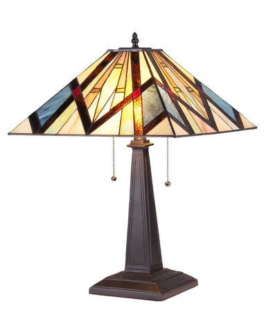 Arts & Crafts Bedivere Stained Glass Table Lamp
