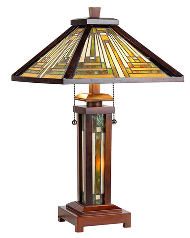 Arts & Crafts Innes Double Lit Table Lamp (with light)