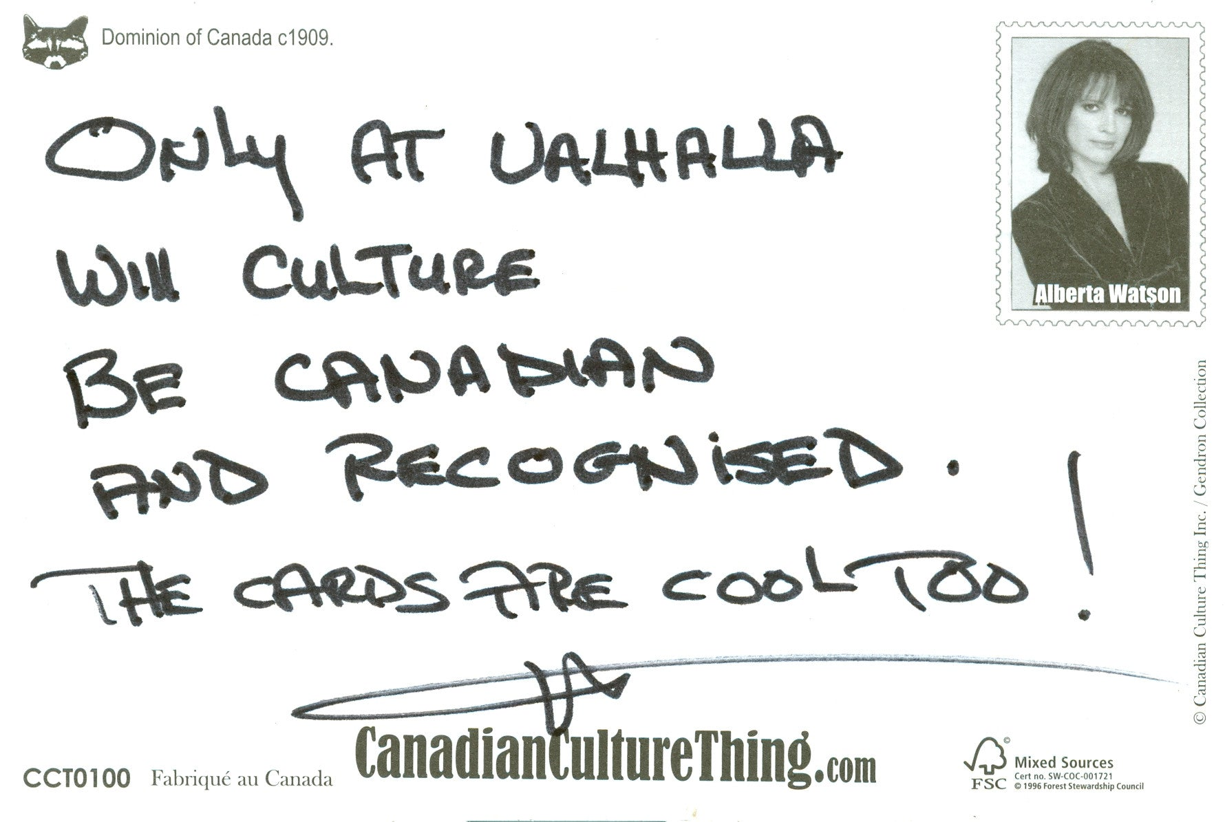 Canadian Culture Thing postcard CCT0100