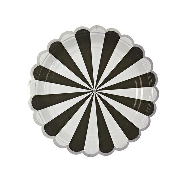 SALE- Meri Meri Toot Sweet Black Fan Stripe Plates (small)