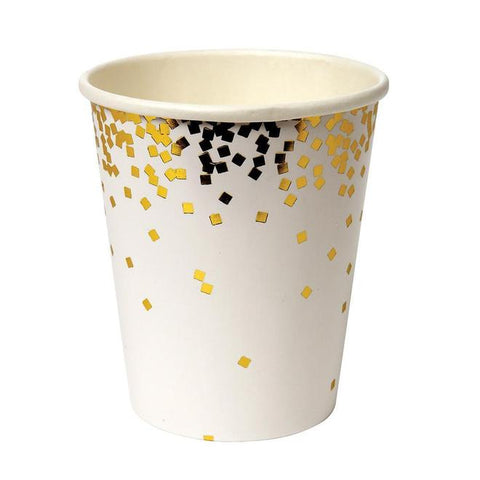 SALE- Meri Meri Toot Sweet Party Cups - Gold Confetti