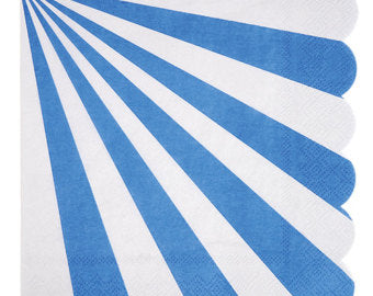 SALE-Meri Meri Periwinkle Fan Stripe Napkins (Small)