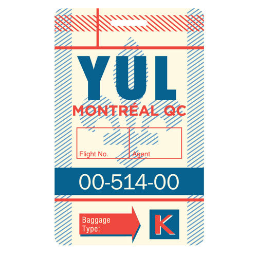 SALE-Luggage Tag - Montreal, Quebec - YUL