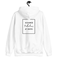 Load image into Gallery viewer, Assigned Fabulous At Birth AFAB Positivity White Hoodie - EnbyTee