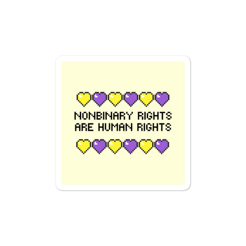 Nonbinary Rights Are Human Rights Yellow Stickers - EnbyTee