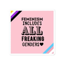 Load image into Gallery viewer, Feminism Includes All Freaking Genders Pink Stickers