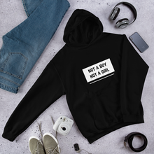 Load image into Gallery viewer, Not A Boy Not A Girl Black Nonbinary Hoodie | ThisIsTheirs