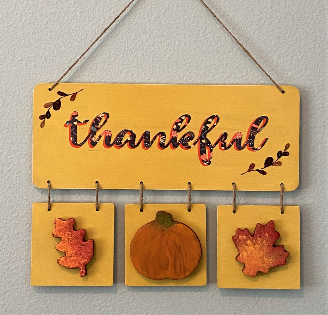 Thankful Wood and Cinnamon Shape Wall Hanging