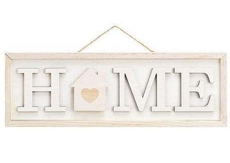 Unfinished HOME sign with interchangeable