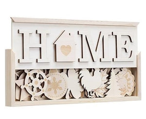 "Unfinished HOME sign with interchangeable ""O"" by Darice"