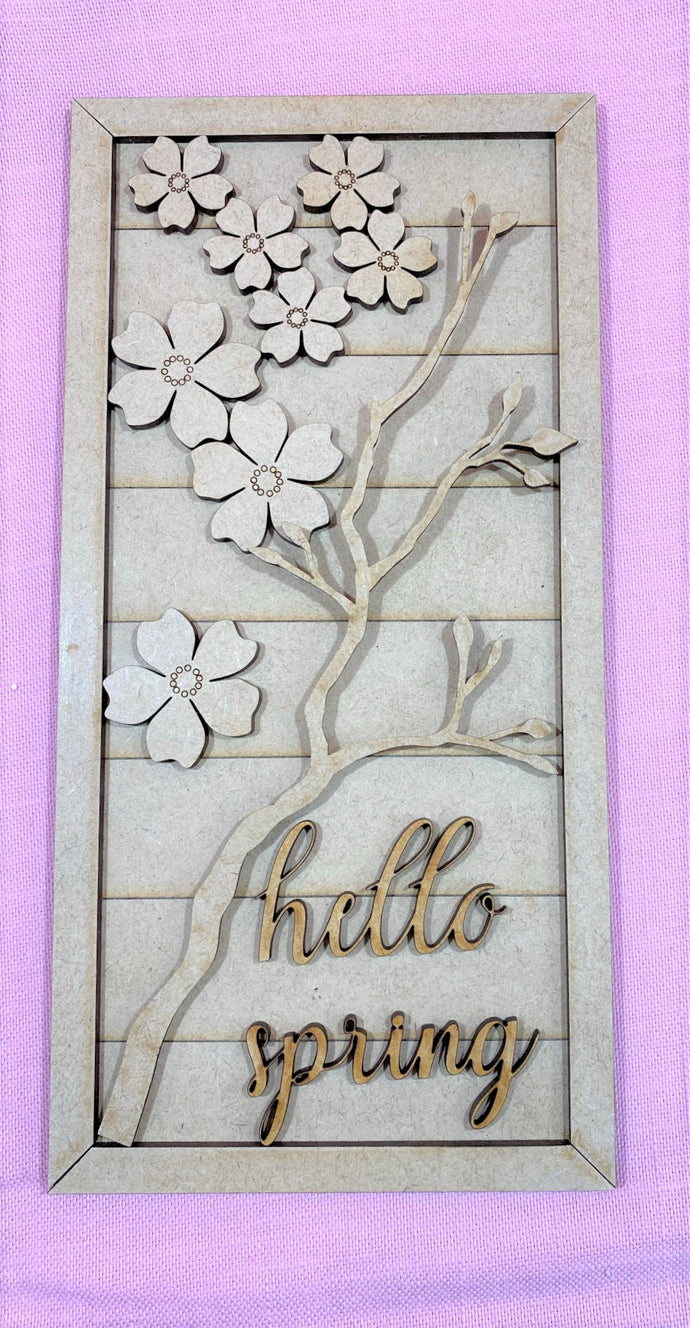 Hello Spring Cherry Blossom DIY Vertical Sign