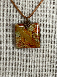 Earth Tones and Antique Gold 1 Inch Tile Pendant