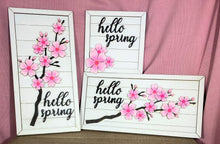 Load image into Gallery viewer, Hello Spring Cherry Blossom Horizontal Wall Hanging