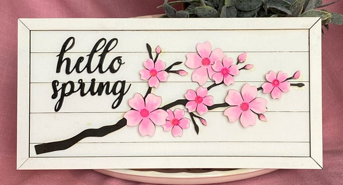 Hello Spring Cherry Blossom Horizontal Wall Hanging