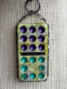 Purple and Green Textured Domino Pendant