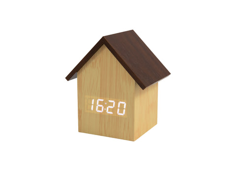 Reloj Despertador Casita Led madera