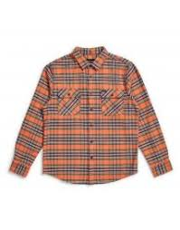 BRIXTON - BOWERY FLANNEL - SALMON / NAVY