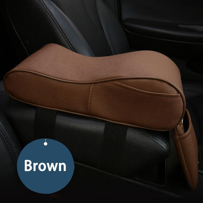 Auto Center Console Armrest Pillow, Memory Foam Car Armrest Cushion with Phone Holder Storage Bag