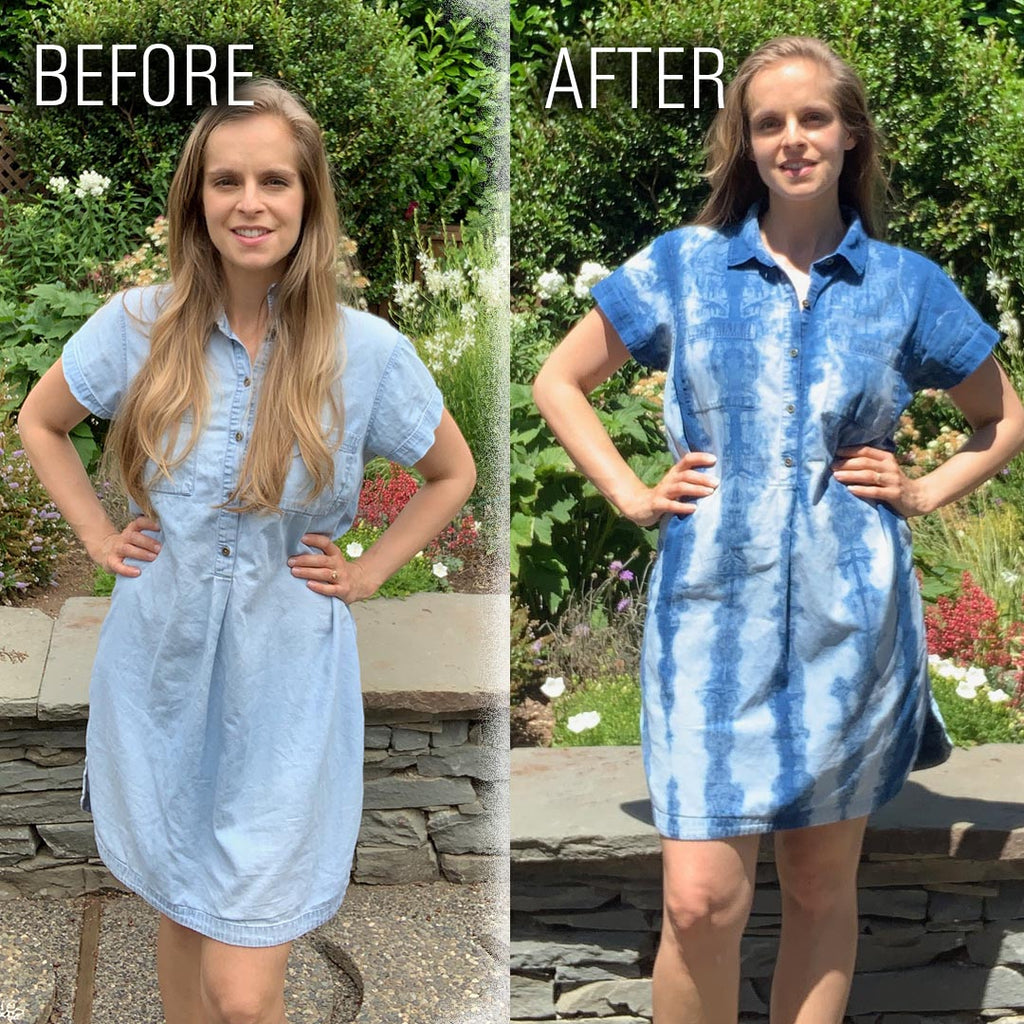 Denim Dress Upcycle Shibori Tutorial