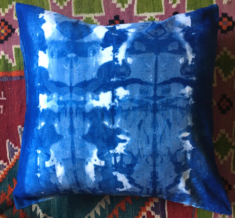 ink blot shibori pillow