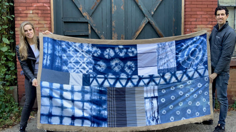 Final photo of quilted shibori wall hanging