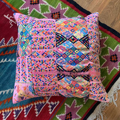 embroidered huipil pillow