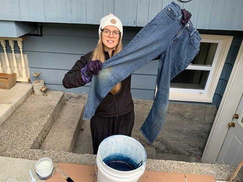 dyeing jeans with indigo