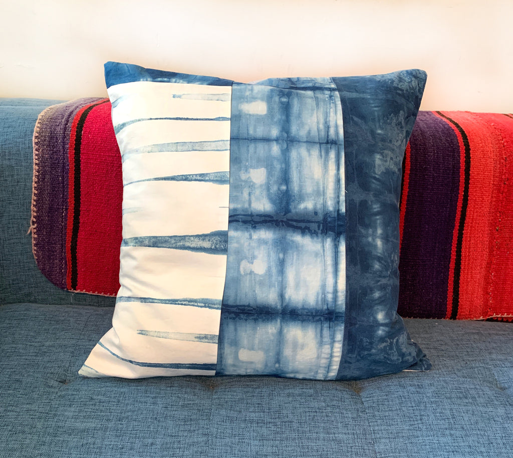 "Quilted Shibori Handyed Indigo Tie Dye Pillow 20x20"" Design 6"