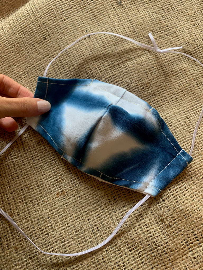Washable Facecovering with Pocket for Filter Hand-dyed Shibori Fabric Womens (XS,S, or M)