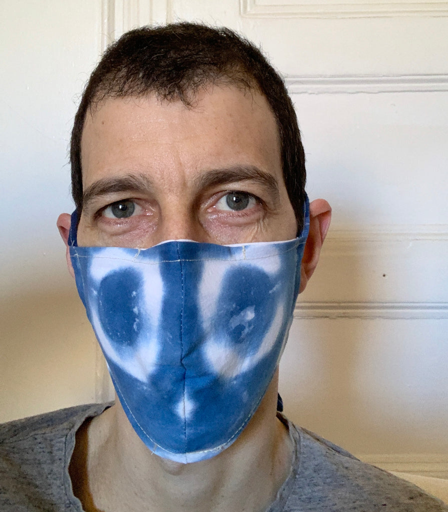Copy of Washable Facemask with Pocket for Filter Hand-dyed Shibori Fabric Mens (L, XL)