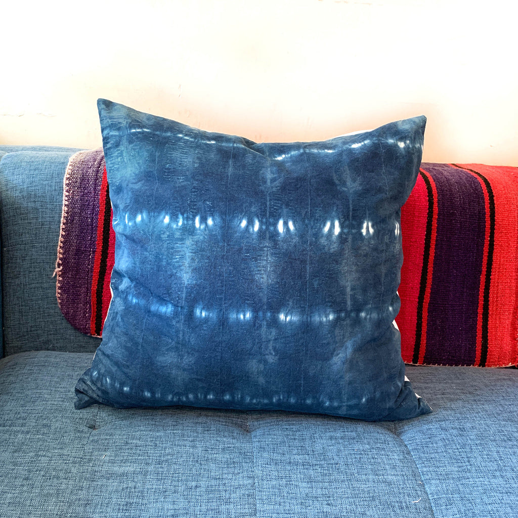 Dark Indigo Shibori Striped Pillow 20x20 Cotton