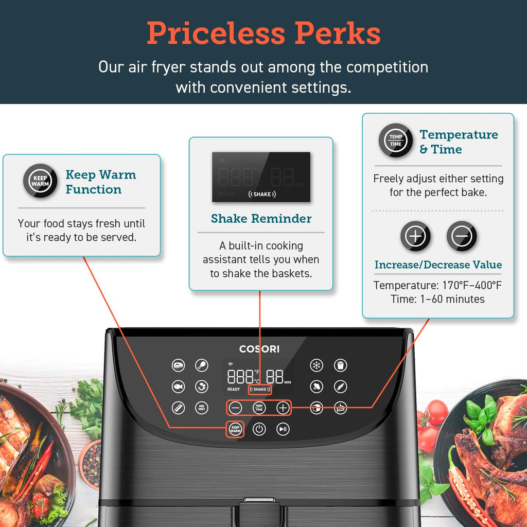 COSORI Smart WiFi Air Fryer 5.8QT(100 Recipes), 1700-Watt Programmable Base for Air Frying, Roasting & Keep Warm 11 Cooking Preset,Preheat&Shake Remind,Digital Touchscreen,2- Year Warranty