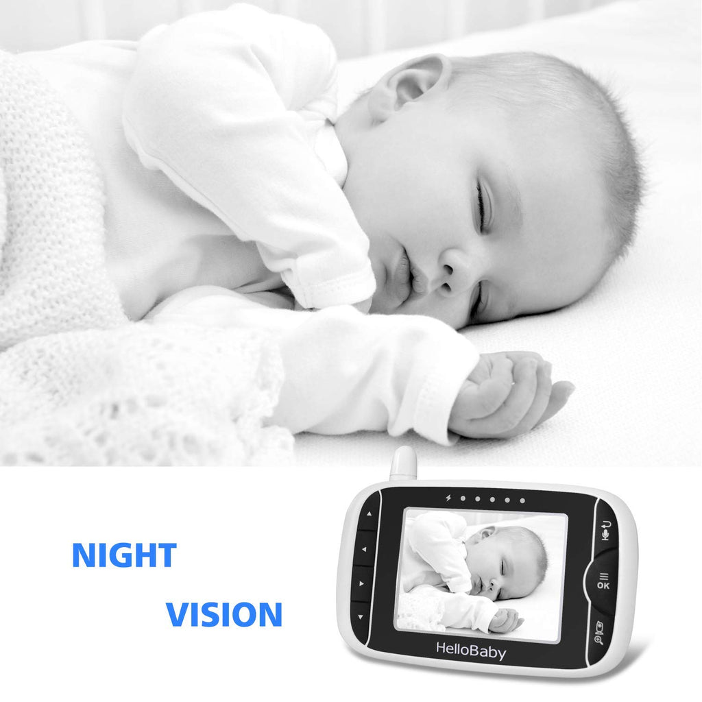 Video Baby Monitor with Camera and Audio | Keep Babies Safe with Night Vision, Talk Back, Room Temperature, Lullabies, 960ft Range and Long Battery Life